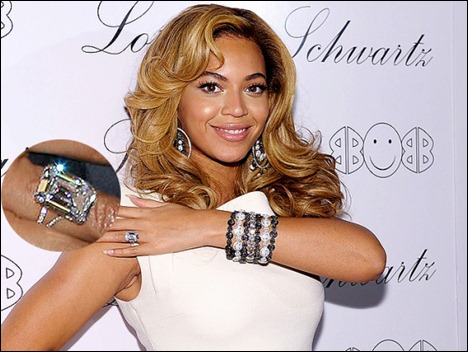 Jay-Z proposed to Beyonce with a huge 18-carat emerald cut diamond ring  from Loraine Schwartz. (source)