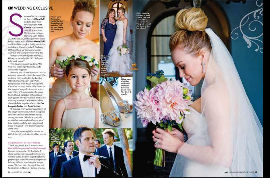 Hilary Duff Wedding Snaps pics in 'Ok' Magazine
